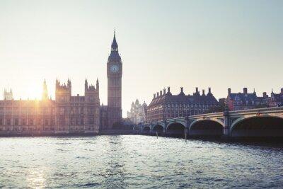 Papiers peints Big Ben et Westminster au coucher du soleil, Londres, Royaume-Uni