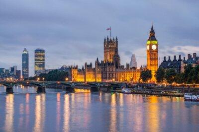 Papiers peints Big Ben et Westminster Bridge, au crépuscule, Londres, Royaume-Uni