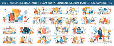 Papiers peints Big business web banner concept set. Web page