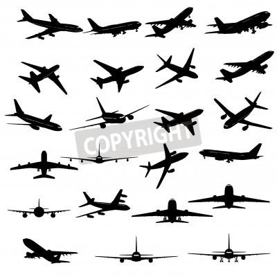 Papiers peints Big collection de différentes silhouettes d'avion.