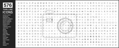 Papiers peints Big collection of 576 thin line icon. Web icons. Business, finance, seo, shopping, logistics, medical, health, people, teamwork, contact us, arrows, technology, social media, education, creativity.