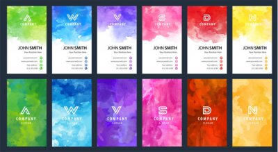 Papiers peints Big set of bright colorful business card vector vertical template with watercolor background