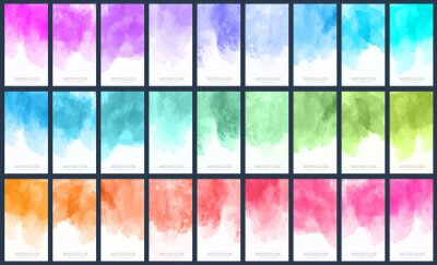 Papiers peints Big set of light colorful vector watercolor vertical backgrounds for poster, banner or flyer