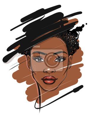 Papiers peints Black African American Woman Portrait Sketch