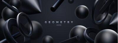 Papiers peints Black geometric 3d shapes backdrop. Abstract elegant background.