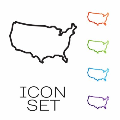 Papiers peints Black line USA map icon isolated on white background. Map of the United States of America. Set icons colorful. Vector