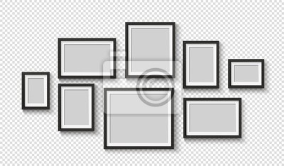 Papiers peints Black photo frame on wall. Square frame set. Blank pictures. Vector decoration element. 3D poster with shadow for presentations