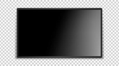 Papiers peints Black screen. Realistic glossy surface, dark thin LED TV. Blank television monitor vector mockup. Black plasma equipment, glossy monitor tv illustration