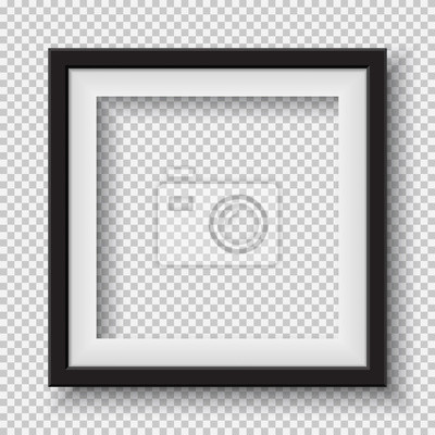 Papiers peints Black, white frame with soft shadow hanging on light squared room wall for text or picture