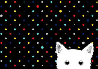 Papiers peints Blanc, chat, coloré, points, étoile, fond, vecteur