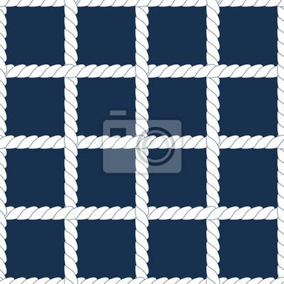 Blanc Corde Treillis Sur Le Bleu Marine Motif Geometrique Parfaite