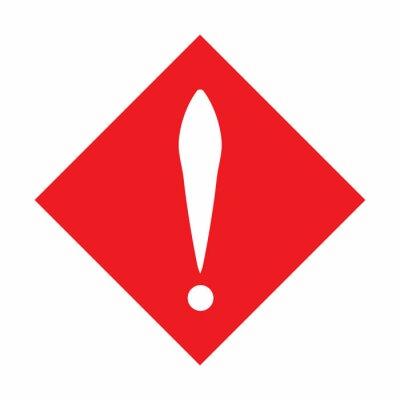 Blanc, exclamation, marque, rouge, carré vectoriel icône. style ...