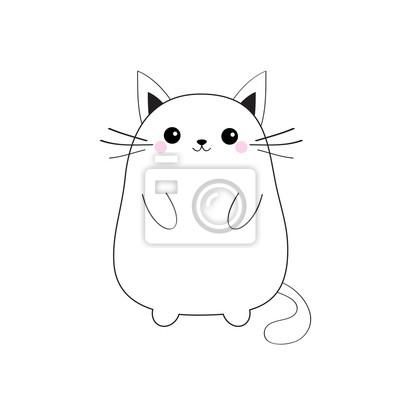 Papiers Peints Blanc Mignon Chat Chaton Assis Bébé Silhouette De Contour Animal