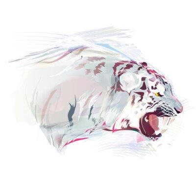 Papiers peints Blanc, tigre, aquarelle, Illustration