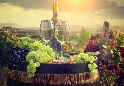 Papiers peints Blanc, vin, baril, vignoble, Toscane, Italie