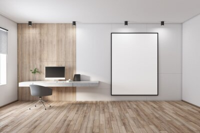 Papiers peints Blank white poster in black picture frame on light wall in stylish spacious room with modern workplace and window. 3D rendering, mock up