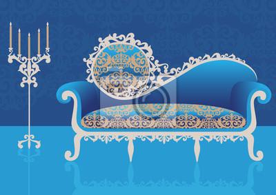 Bleu, canapé, intérieur. Illustration vectorielle