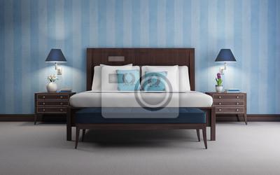 Papiers Peints Bleu Chic De Chambre De Luxe Rendu 3d Vue Du Papier Peint Bleu