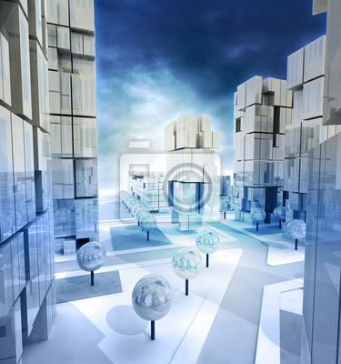 Bleu moderne descendit rues de la ville avec un ciel nuageux