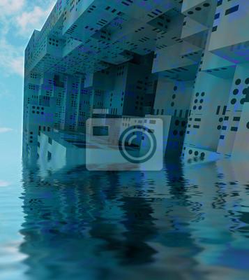 bleu sunked ville moderne vaisseau spatial d'observation
