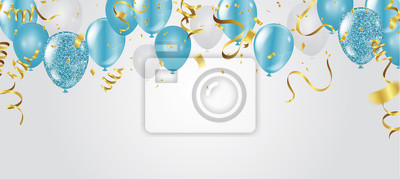 Papiers peints blue balloons, vector illustration. Celebration background template.