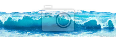 Papiers peints Blue sea wave with white foam isolated on white background.