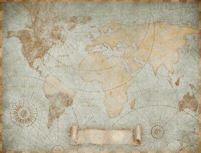 Papiers peints Blue vintage world map illustration based on image furnished by NASA