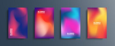 Papiers peints Blurred backgrounds set with modern abstract blurred color gradient patterns. Smooth templates collection for brochures, posters, banners, flyers and cards. Vector illustration.
