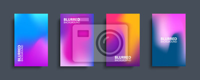 Papiers peints Blurred backgrounds set with modern abstract blurred color gradient patterns. Templates collection for brochures, posters, banners, flyers and cards. Vector illustration.