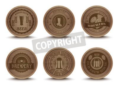 Papiers peints Bois bière maison emblèmes rétro style boisson égouttement nattes coasters icônes collection résumé résumé isolé vecteur Illustration