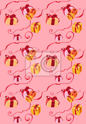 boîte de cadeau de motif sur fond rose avec des arcs et des rubans