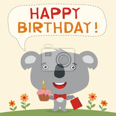 Papiers Peints Bon Anniversaire Ours De Koala Drôle Avec Un Gâteau Danniversaire