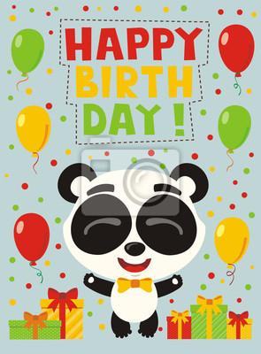 Image Bon Anniversaire Garçon.Papiers Peints Bon Anniversaire Panda Drole Avec Des Cadeaux Et Des Ballons