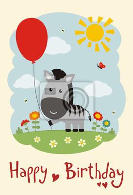 Carte Anniversaire Zebre.Papiers Peints Bon Anniversaire Zebre Drole Avec Le Ballon Sur Le Pre De Fleur