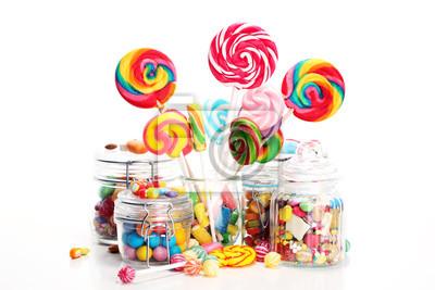 Papiers peints bonbons à la gelée et le sucre. tableau coloré de bonbons et friandises pour enfants différents.