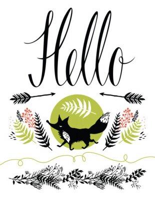 Papiers peints Bonjour conception de la couverture de la carte postale. Renard et forestiers herbes heureux, flèches