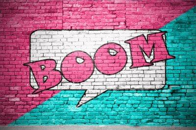 Papiers peints Boom Cartoon graffiti Mur de briques