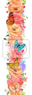 Papiers peints bordure florale verticale sans soudure avec des papillons. peinture à l'aquarelle