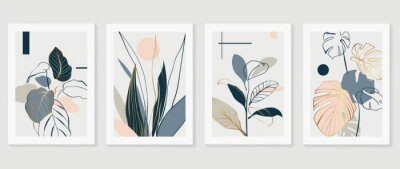 Papiers peints Botanical and gold abstract wall arts vector collection.  Golden and luxury pattern design with Tropical leaves line arts, Hand draw Organic shape design for wall framed prints, cover and poster.