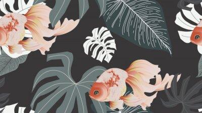 Papiers peints Botanical seamless pattern, pink lotus flowers and goldfish on dark grey background, pastel vintage style
