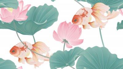 Papiers peints Botanical seamless pattern, pink lotus flowers and goldfish on white background, pastel vintage style