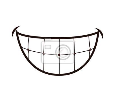 Papiers peints Bouche concept représenté par dessin animé sourire. Illustration isolée et plate