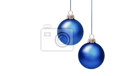 boules de Noël bleues avec de la neige