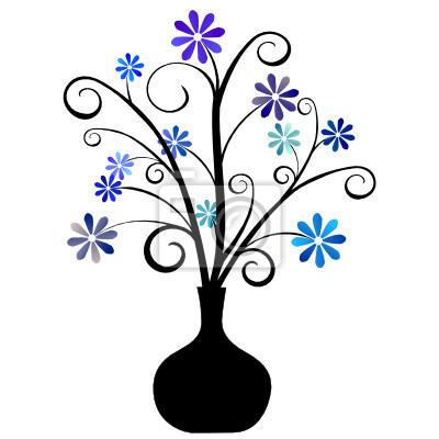 Bouquet De Fleurs Bleues Dans Vase Non Papier Peint Papiers Peints
