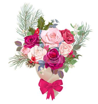 Papiers Peints Bouquet De Fleurs Concept De Design Pour Noël Carte De Saint