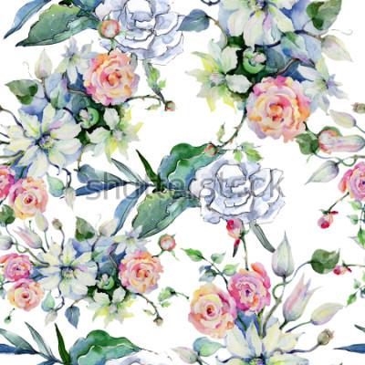 Papiers peints Bouquet de fleurs tendres. Motif de fond sans couture. Texture de papier peint en tissu. Aquarelle Fleurs sauvages pour le fond, la texture, le motif d'emballage, le cadre ou la bordure.