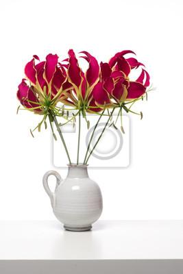 Bouquet de lys gloriosa de gloire des fleurs à une étagère blanche à un fond blanc
