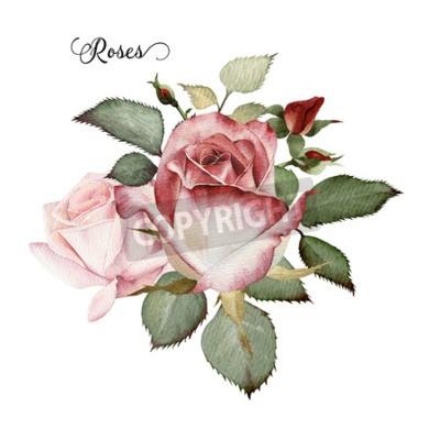 Bouquet De Roses Aquarelle Peut Etre Utilise Comme Carte De Papier