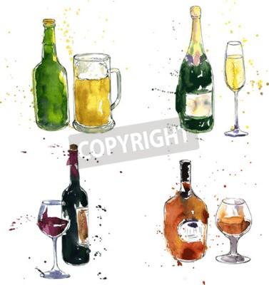 Papiers peints Bouteille de cognac et de la coupe, bouteille de vin et de verre, bouteille de champagne et de verre, bouteille de bière et de la tasse, dessin à l'aquarelle et encre, illustration vectorielle tirée à