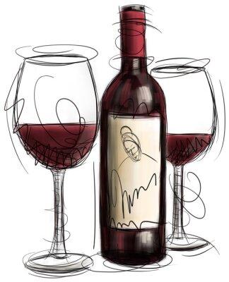 Papiers peints Bouteille de vin et verres